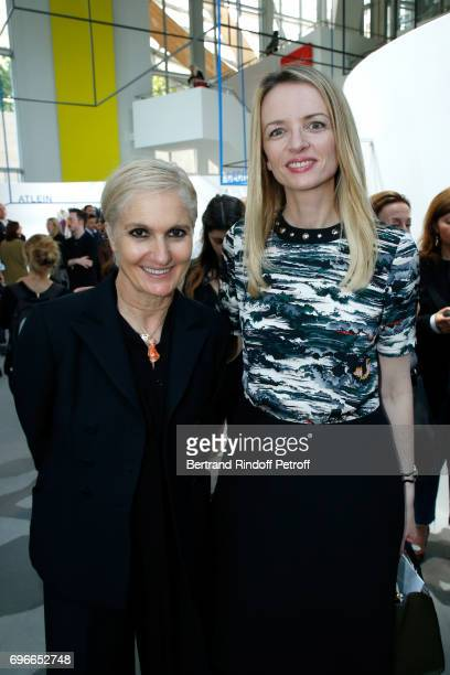 Stylist Maria Grazia Chiuri and President of the Jury of the Prize Louis Vuitton's executive vice president Delphine Arnault attend the 'Young...