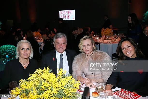 Stylist Maria Grazia Chiuri CEO Dior Sidney Toledano Diane Kruger and Katia Toledano attend the Sidaction Gala Dinner 2017 Haute Couture Spring...