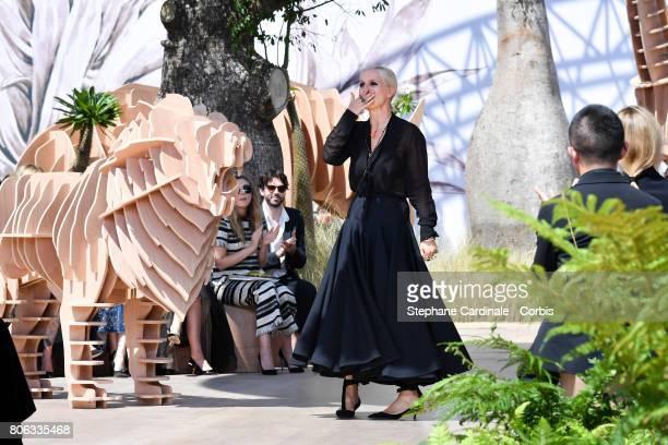 Stylist Maria Grazia Chiuri walks the runway during the Christian Dior Haute Couture Fall/Winter 20172018 show as part of Haute Couture Paris Fashion...