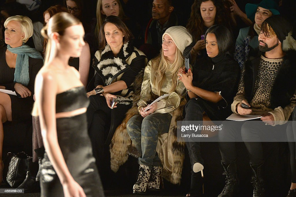 Stylist Marni Senofonte, singer <a gi-track='captionPersonalityLinkClicked' href=/galleries/search?phrase=Kelly+Rowland&family=editorial&specificpeople=201760 ng-click='$event.stopPropagation()'>Kelly Rowland</a>, and Ty Hunter attend the Kaufmanfranco fashion show during Mercedes-Benz Fashion Week Fall 2014 at The Theatre at Lincoln Center on February 12, 2014 in New York City.