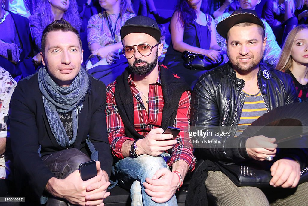 Stylist Max Gor (C) attends the Mercedes-Benz Fashion Week Russia S/S 2014 on October 27, 2013 in Moscow, Russia.