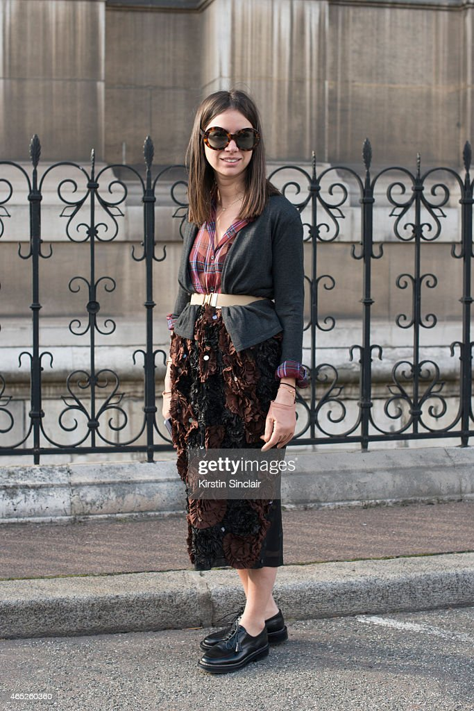 Stylist Natacha Goldenberg wears all Dries Van Notten and Natacha Goldenbirg sunglasses on day 2 of Paris Collections: Women on March 04, 2015 in Paris, France.