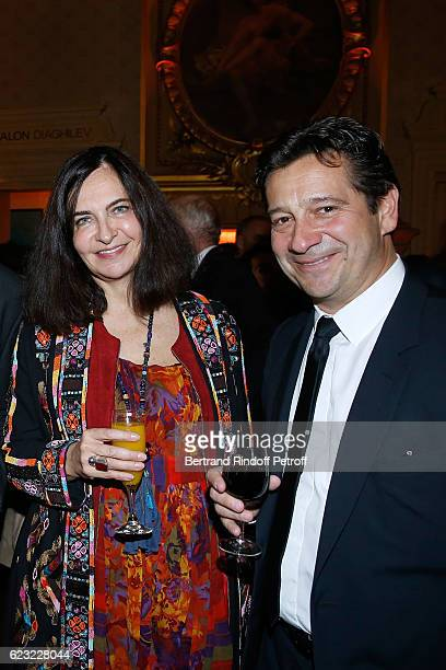 Stylist Nathalie Garcon and imitator Laurent Gerra attend the 24th 'Gala de l'Espoir' at Theatre du Chatelet on November 14 2016 in Paris France