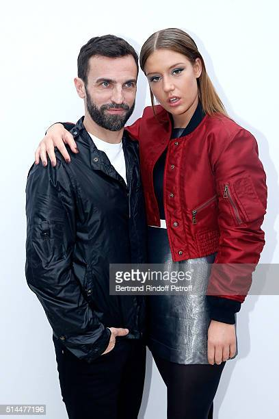 Stylist Nicolas Ghesquiere and Actress Adele Exarchopoulos pose backstage after the Louis Vuitton show as part of the Paris Fashion Week Womenswear...