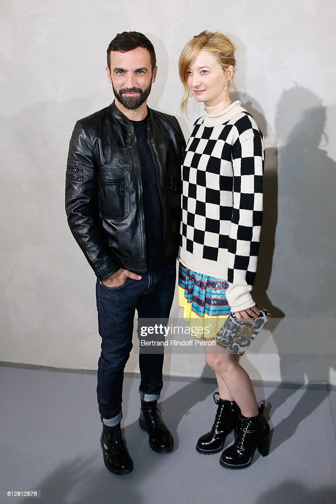 Stylist Nicolas Ghesquiere and actress Alba Rohrwacher pose after the Louis Vuitton show as part of the Paris Fashion Week Womenswear Spring/Summer 2017 on October 5, 2016 in Paris, France.