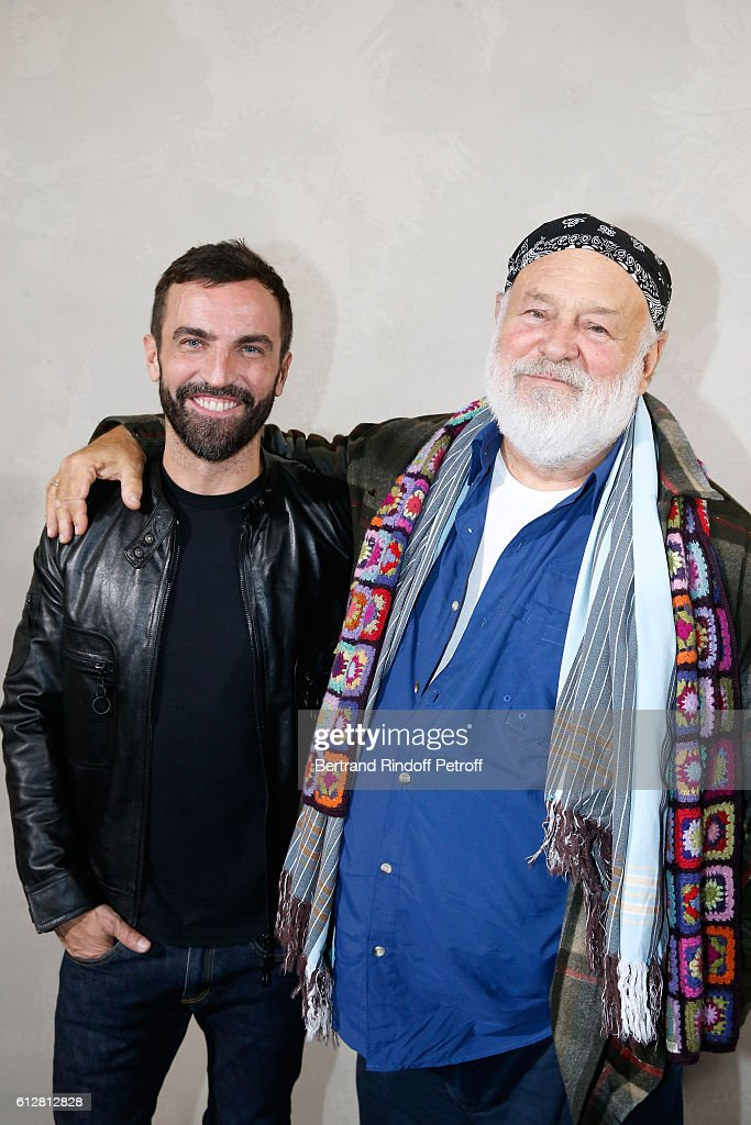 Stylist Nicolas Ghesquiere and Photographer Bruce Weber pose after the Louis Vuitton show as part of the Paris Fashion Week Womenswear Spring/Summer 2017 on October 5, 2016 in Paris, France.