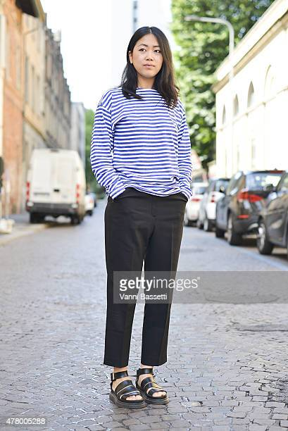 Stylist Noey Park poses in a vintage outfit on June 21 2015 in Milan Italy