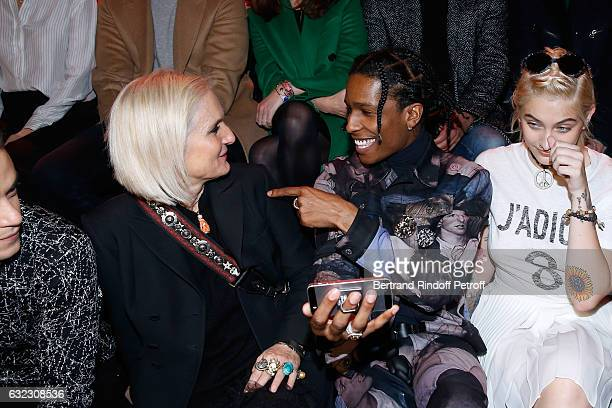 Stylist of Dior Maria Grazia Chiuri rapper ASAP Rocky and Paris Jackson attend the Dior Homme Menswear Fall/Winter 20172018 show as part of Paris...