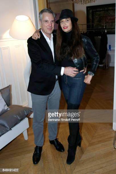 Stylist of Sylvie's Scene Costume Olivier Lapidus and his wife Yara Lapidus attend the Dinner after Sylvie Vartan performed at L'Olympia on September...