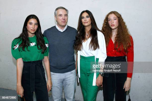 Stylist Olivier Lapidus his wife Yara Lapidus and their daughters Milla and Koukla pose Backstage after the Lanvin show as part of the Paris Fashion...