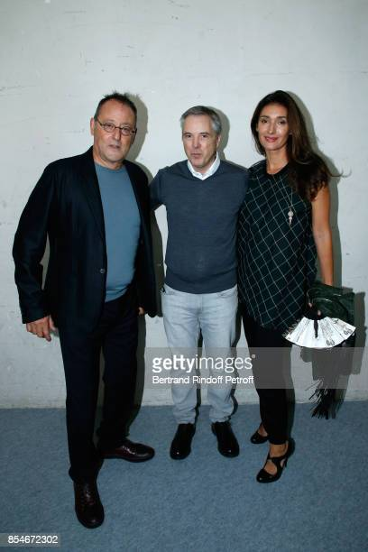 Stylist Olivier Lapidus standing between Jean Reno and his wife Zofia Reno pose Backstage after the Lanvin show as part of the Paris Fashion Week...