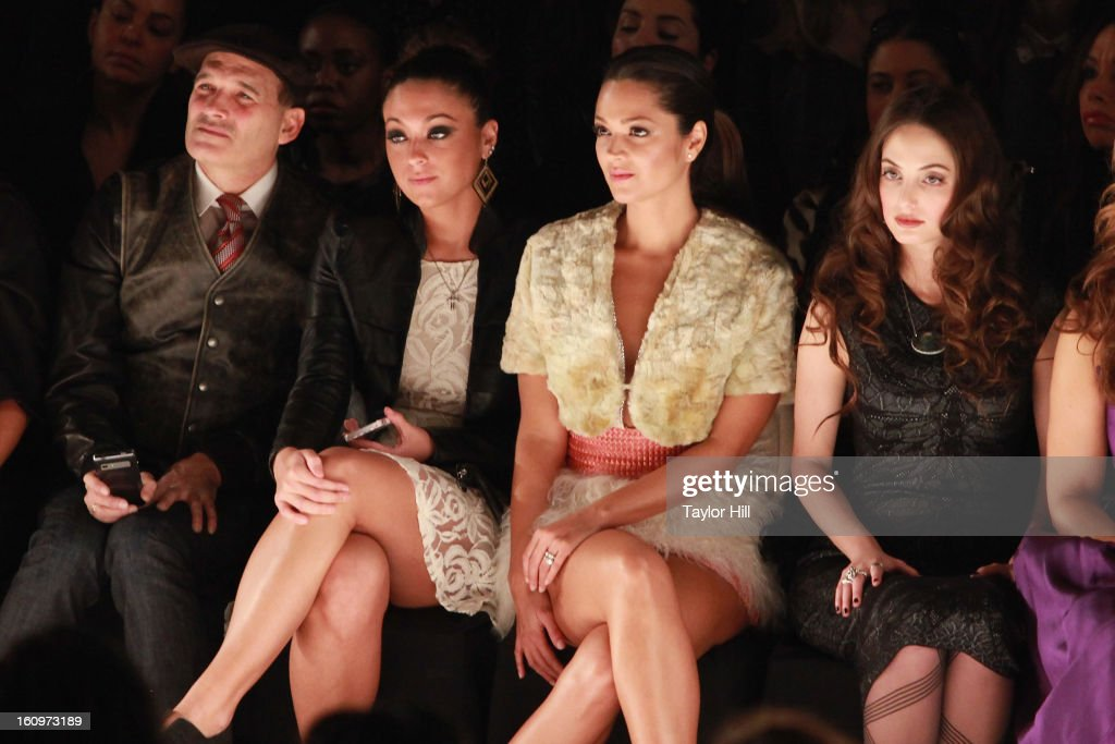 Stylist Phillip Bloch, Samantha Giancola, actress Paula Garces, and pianist Alexa Ray Joel attend the Project Runway Fall 2013 Mercedes-Benz Fashion Show at The Theater at Lincoln Center on February 8, 2013 in New York City.