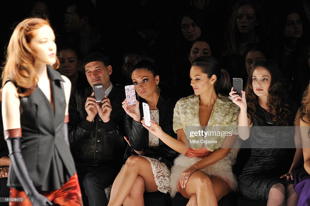 Stylist Phillip Bloch, tv personality Sammi Giancola, actress Paula Garces and singer Alexa Ray Joel attend the Project Runway Fall 2013 fashion show during Mercedes-Benz Fashion Week at The Theatre at Lincoln Center on February 8, 2013 in New York City.