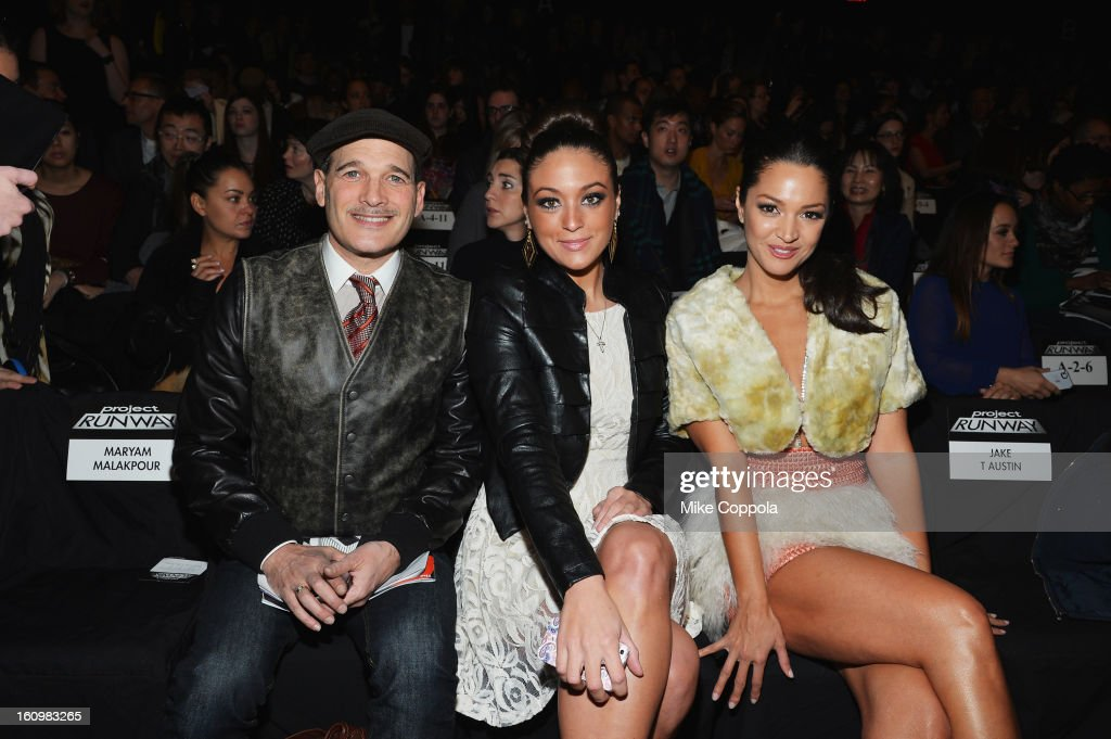 Stylist Phillip Bloch, tv personality Sammi Giancola and actress Paula Garces attend the Project Runway Fall 2013 fashion show during Mercedes-Benz Fashion Week at The Theatre at Lincoln Center on February 8, 2013 in New York City.