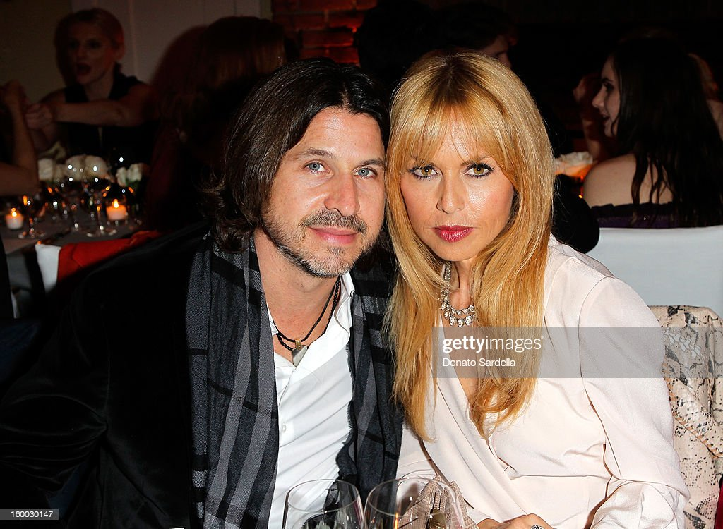 Stylist Rachel Zoe (R) and Rodger Berman attend the Ferragamo presentation Spring Summer Runway Collection with VIP dinner, hosted by Jacqui Getty and Harpers BAZAAR at Chateau Marmont on January 24, 2013 in Los Angeles, California.
