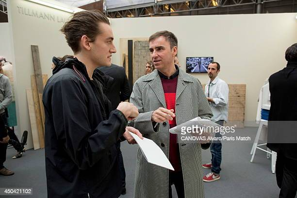 Stylist Raf Simons is photographed for Paris match with Thomas Tait at the headquarters of LVMH for the LVMH's prize which reward young fashion...