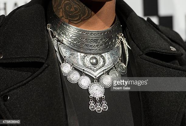 Stylist Rita Lynn necklace detail attends the Moet Nectar Imperial Rose x Marcelo Burlon Launch Event at Cipriani Downtown on June 3 2015 in New York...