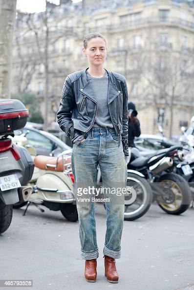 Stylist Tanya Jones poses after the Ireis Van Herpen show on March 10 2015 in Paris France