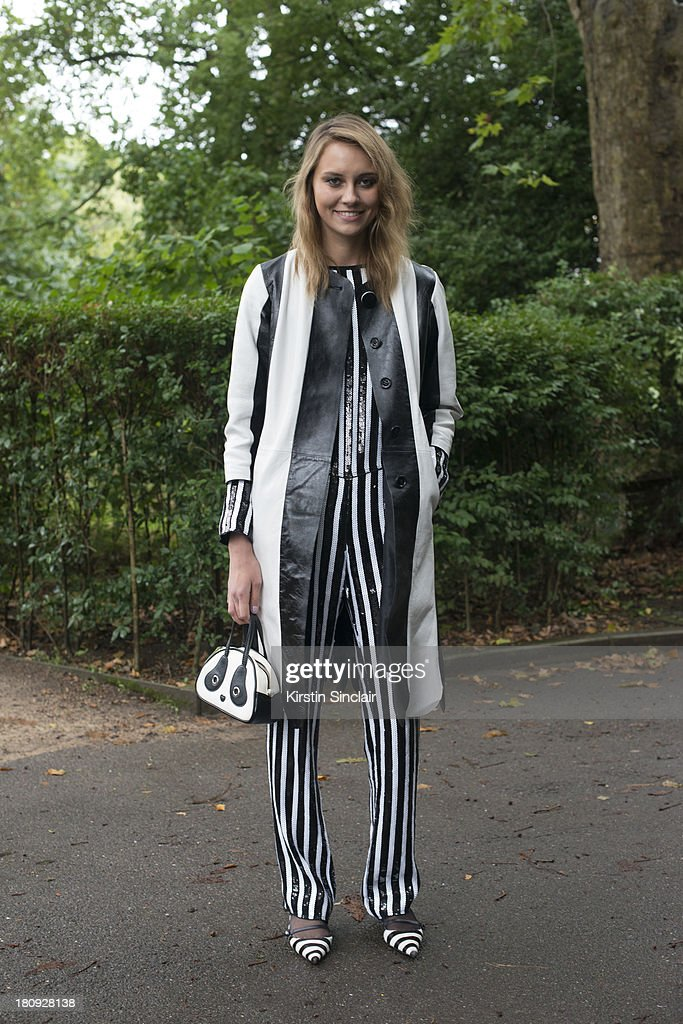 Stylist Tess Yopp is wearing all Marc Jacobs with a vintage bag on day 5 of London Fashion Week Spring/Summer 2013, at Somerset House on September 17, 2013 in London, England.