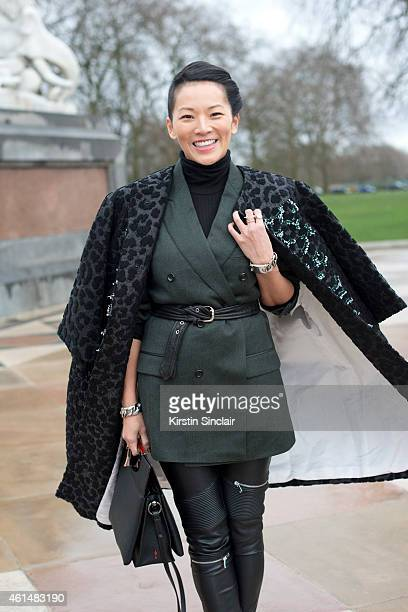 Stylist Tina Leung wearing a Louis Vuitton bag Dior jacket Dunhill Blazer and Maje trousers on day 4 of London Collections Men on January 12 2015 in...