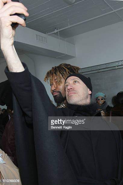 Stylist Ty Hunter and TV personality Robert Verdi pose during SheaMoisture at Laquan Smith F/W 2016 NYFW at Jack Studios on February 14 2016 in New...