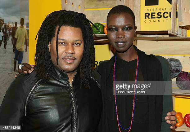 Stylist TyRon Mayes and model Nykhor Paul attend IRC Fashion Week PopUp and Photo Exhibition at Empire Hotel on February 14 2015 in New York City