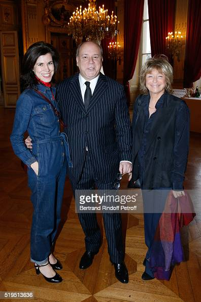 Stylist Vanessa Seward Marc Lambron and Director Daniele Thompson attend writer Marc Lambron receives 'L'Epee d'Academicien' of 'Academie Francaise'...