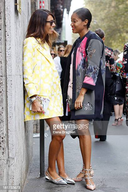 Stylist Viviana Volpicella and photographer Tamu Mc Pherson are seen on the streets of Milan on September 23 2013 in Milan ItalyViviana is wearing a...