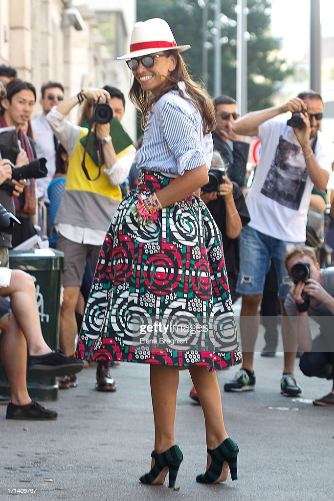 Stylist Viviana Volpicella is seen at Milan Fashion Week Menswear Spring/Summer 2014 on June 23, 2013 in Milan, Italy.