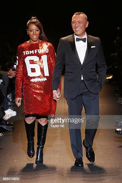 Stylists Joe Zee and June Ambrose walk the runway during Naomi Campbell's Fashion For Relief 2015 fall fashion show at The Theater at Lincoln Center...