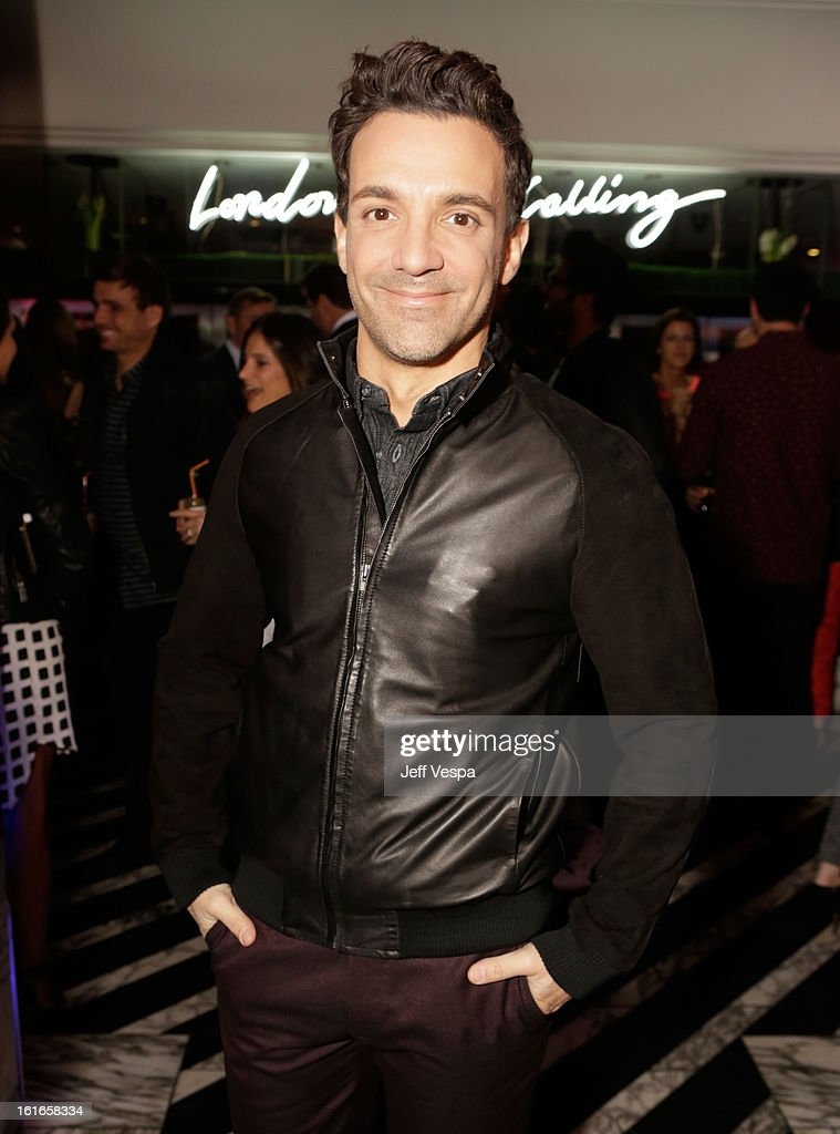 Stylist/TV personality George Kotsiopoulos wearing Topman attends the Topshop Topman LA Opening Party at Cecconi's West Hollywood on February 13, 2013 in Los Angeles, California.