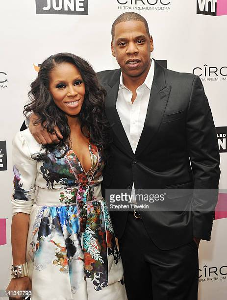 Stylist/TV personality Jume Ambrose and hiphop artist JayZ attend the 'Styled By June' premiere screening at the Crosby Street Hotel on March 14 2012...
