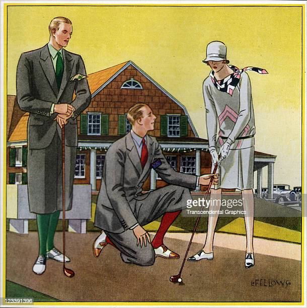 A stylized group of golfers by the illustrator Fellows show off their fine clothes in this ad early to mid 20th century from London England