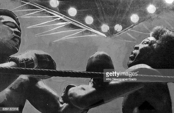 Stylized image with heavy original edits showing heavyweight boxing champion Muhammad Ali grappling with an opponent near the ropes in a boxing ring...