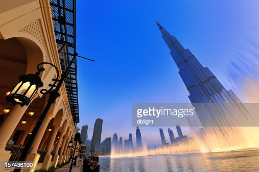 Stylized shot of the musical fountain in Dubai
