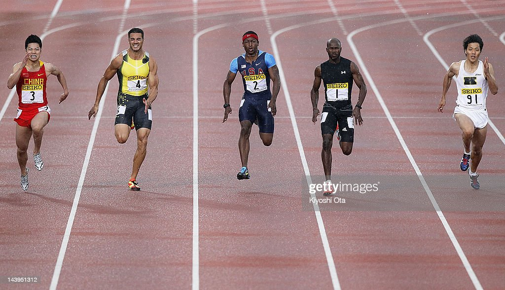 Su Bingtian of China Joshua Ross of Australia Mike Rodgers of the United States Kim Collins of Saint Kitts and Nevis and Ryota Yamagata of Japan...