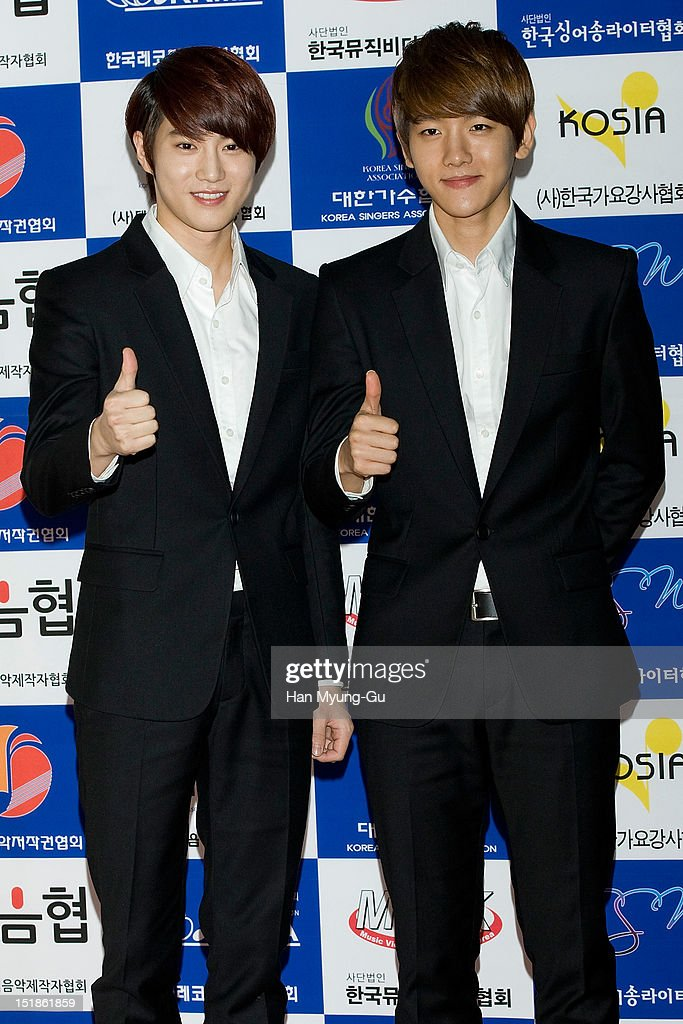 Su Ho and Baek Hyun of South Korean boy band EXO-K arrives the launch event of 'Popular Music Promotion Committee' on September 12, 2012 in Seoul, South Korea.