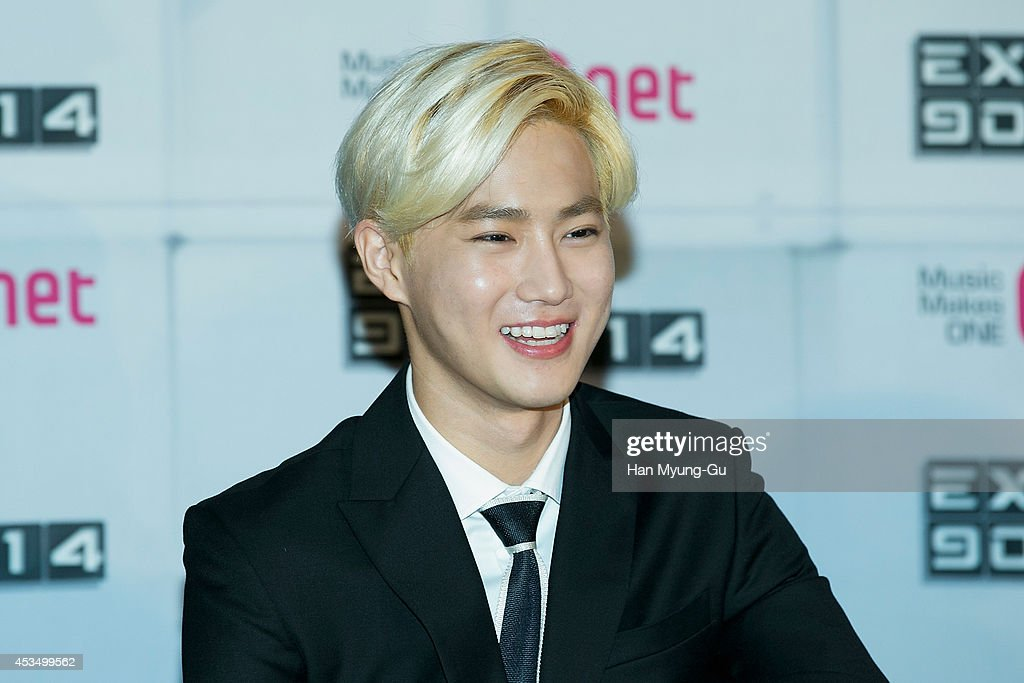 Su Ho of boy band EXO attends the press conference for Mnet EXO 902014 at CJ EM Center on August 11 2014 in Seoul South Korea The program will open...
