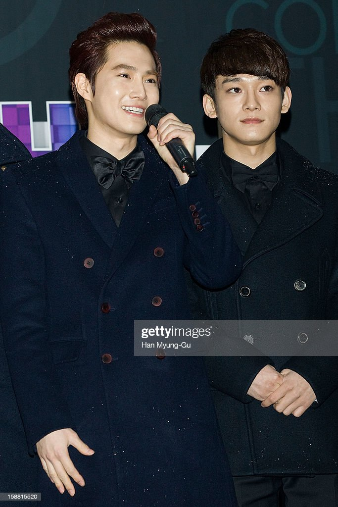 Su Ho of boy band EXO-K and Chen of boy band EXO-M arrive at the 2012 SBS Korea Pop Music Festival named 'The Color Of K-Pop' at Korea University on December 29, 2012 in Seoul, South Korea.