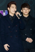Su Ho of boy band EXOK and Chen of boy band EXOM arrive at the 2012 SBS Korea Pop Music Festival named 'The Color Of KPop' at Korea University on...