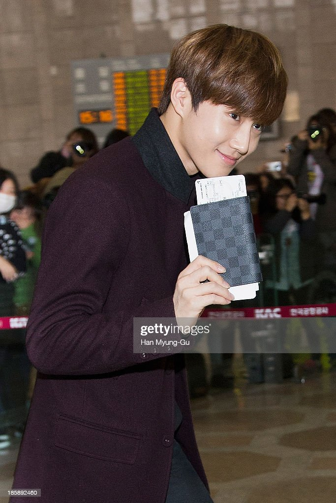 Su ho (Suho) of South Korean boy band EXO-K is seen on departure at Gimpo International Airport on October 25, in Seoul, South Korea.