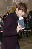 Su ho of South Korean boy band EXOK is seen on departure at Gimpo International Airport on October 25 in Seoul South Korea