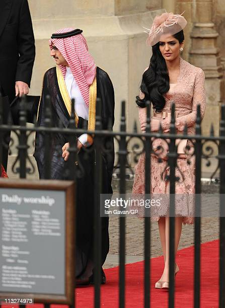 Suadi Prince AlWaleed bin Talal and Princess Ameerah exit Westminster Abbey after the Royal Wedding of Prince William to Catherine Middleton on April...