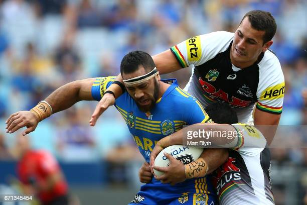 Suaia Matagi of the Eels is tackled during the round eight NRL match between the Parramatta Eels and the Penrith Panthers at ANZ Stadium on April 22...