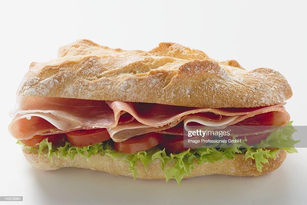 Sub sandwich with raw ham