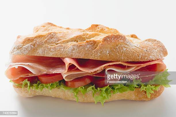 Sub sandwich with raw ham
