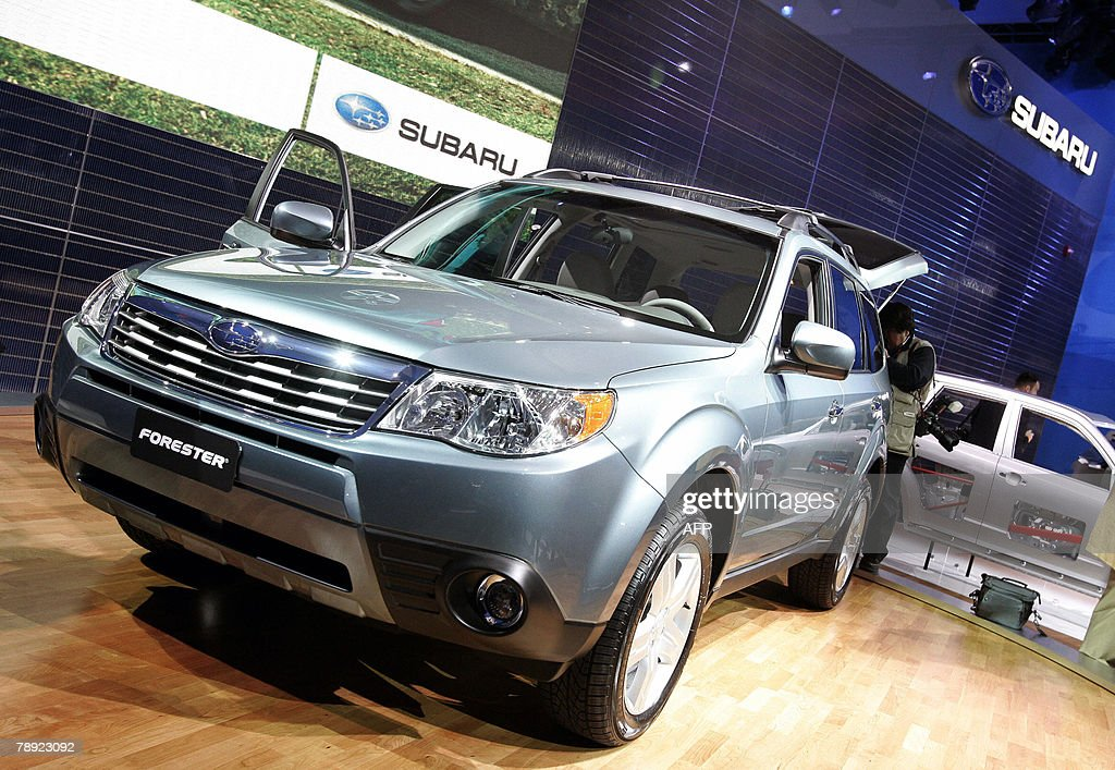 Subaru debuts the 2009 Forester at a press conference during the press days at the 2008 North American International Auto Show at Cobo Hall in...