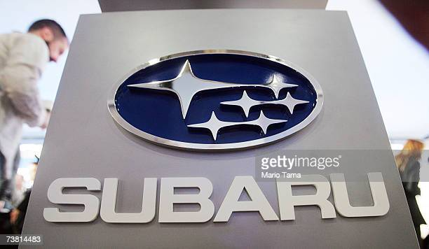 Subaru logo is displayed after the 2008 Subaru Impreza was unveiled at the New York International Auto Show April 5 2007 in New York City The show...