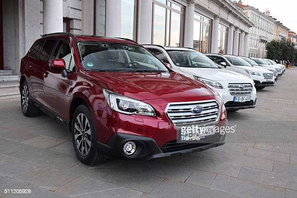 Subaru Outback cars in a row