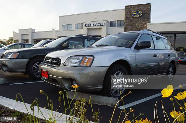 Subaru Outback wagon is seen on display at Ron Price Motors January 13 2004 in South San Francisco California Environmentalists are outraged that...